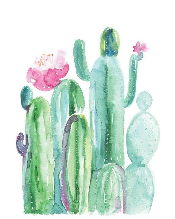 Aquarell Kaktus - blühender Kaktus - Kakteen und Sukkulenten - Aquarell moderne natürliche Kunstdruck - rosa Kaktus Blüte