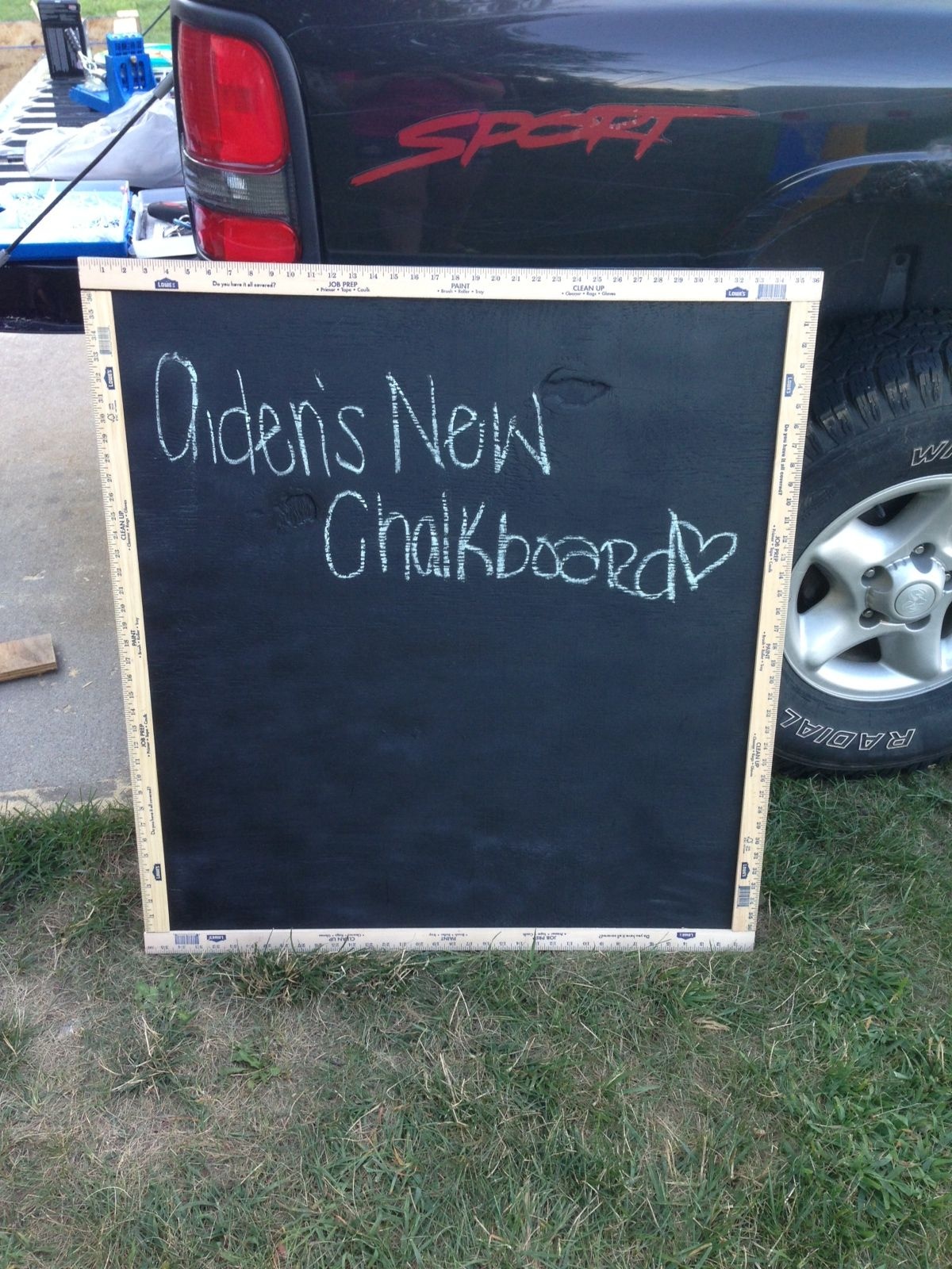 Chalkboard made from plywood, chalkboard paint and