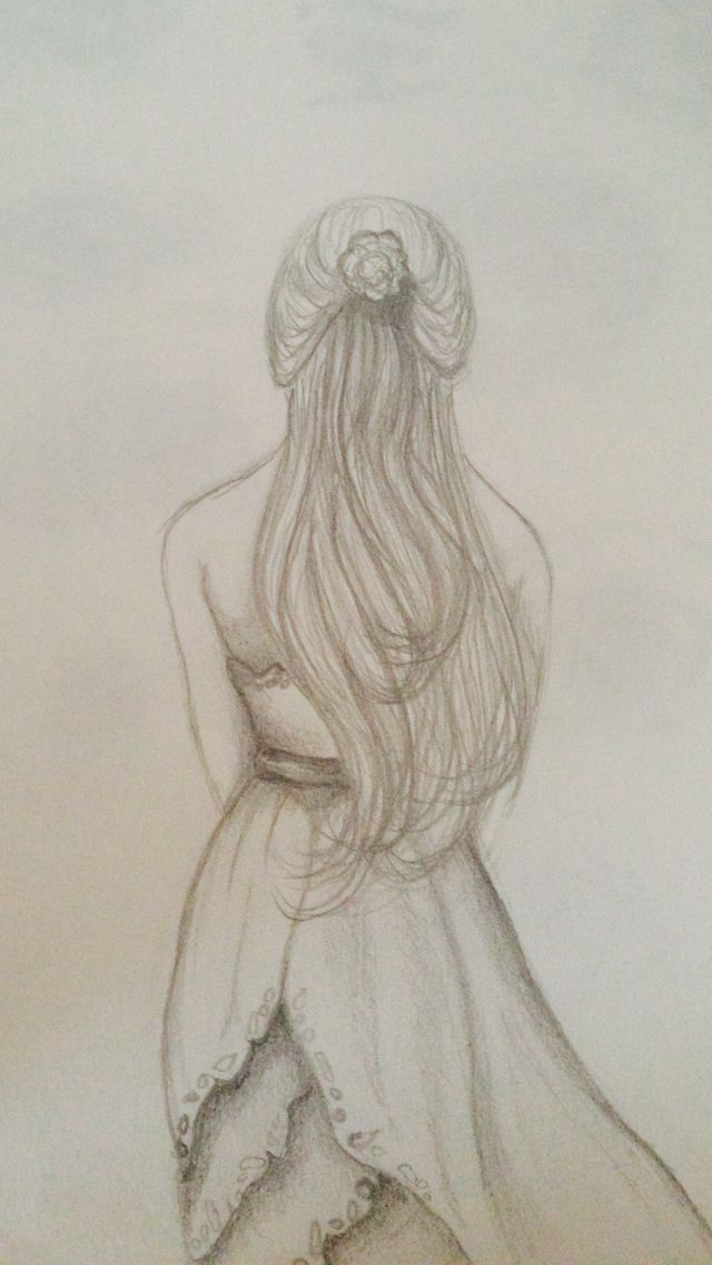 Girl walking away in dress drawing pictures