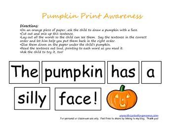 These activities were designed to help children develop an awareness for print concepts such as: word, punctuation, capital letters, letter names, ...