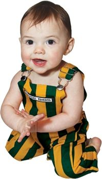 Your newborn will liven up the tailgate in these Green & Yellow Striped Infant Game Bib Overalls!