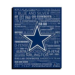 best cheap 559d7 918ea Dallas Cowboys Canvas Art - Typography 14x11 | Dallas ...