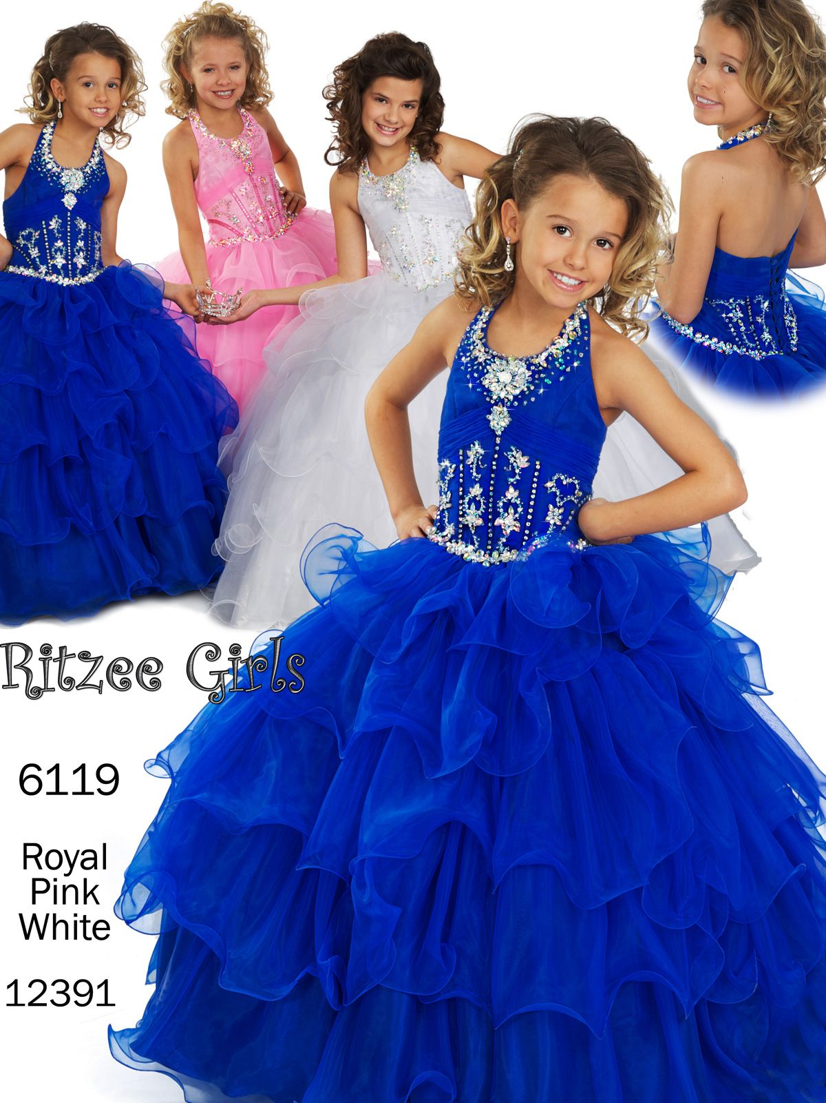 Size 12 White In StockPrincess inspired organza pageant dress Ritzee Girls  6119. Girls fairy pageant