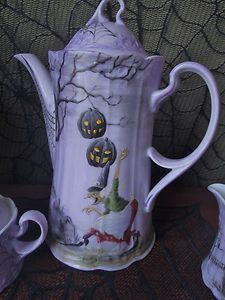 Halloween Tea Set Hand Painted China OOAK Vintage Witch Coffee Hot Chocolate | eBay