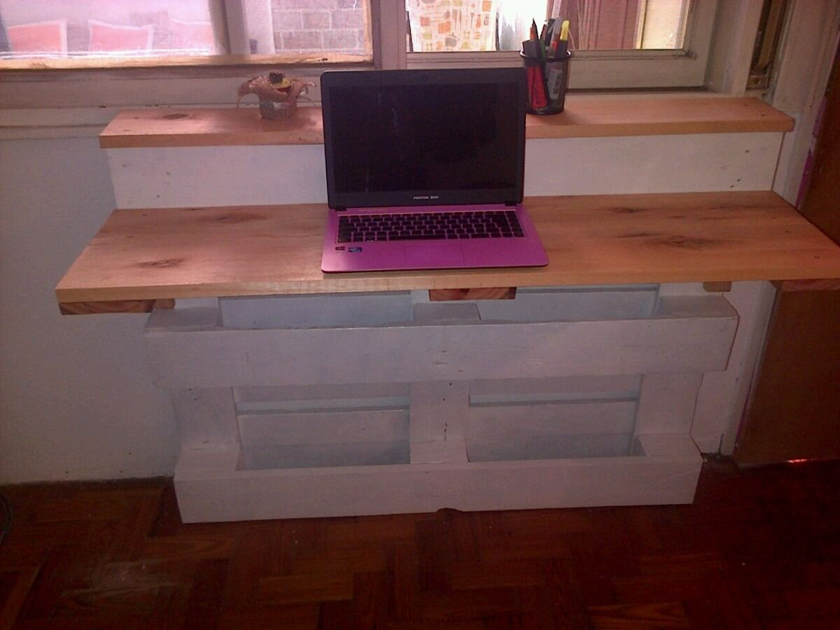 Office Desk Europalets Endsdiy On Desks Escritorio De Pallet Reciclado Pallets And