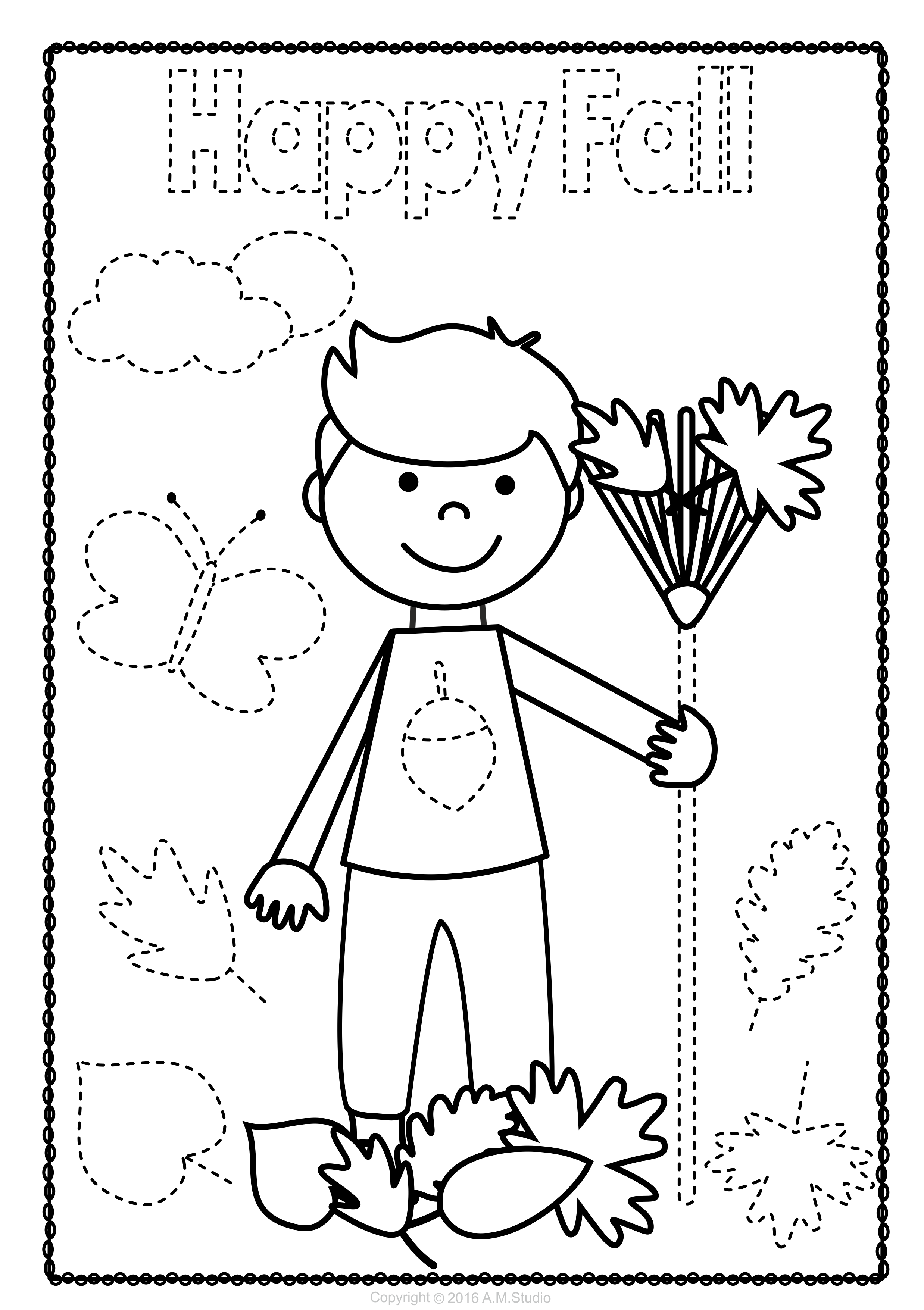 Fall Trace And Color Pages Fine Motor Skills Pre