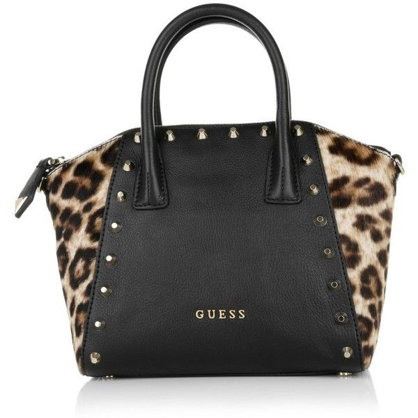 Guess  Savvy Mini Box Satchel Black/Leo  Bag ($175) ❤ liked on Polyvore featuring bags, handbags, black, leather satchel purse, leather purse, 80s fashion, animal print handbags and black leather handbags