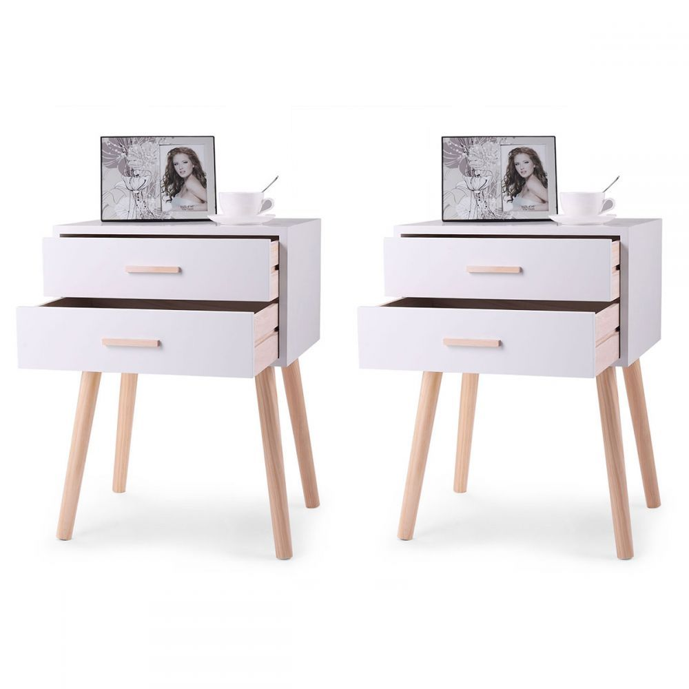 Minimalist Two Drawer Nightstand With Wooden Legs Set Of Two Storage Furniture Bedroom Simple Nightstand Bedroom Night Stands Set of two night stands