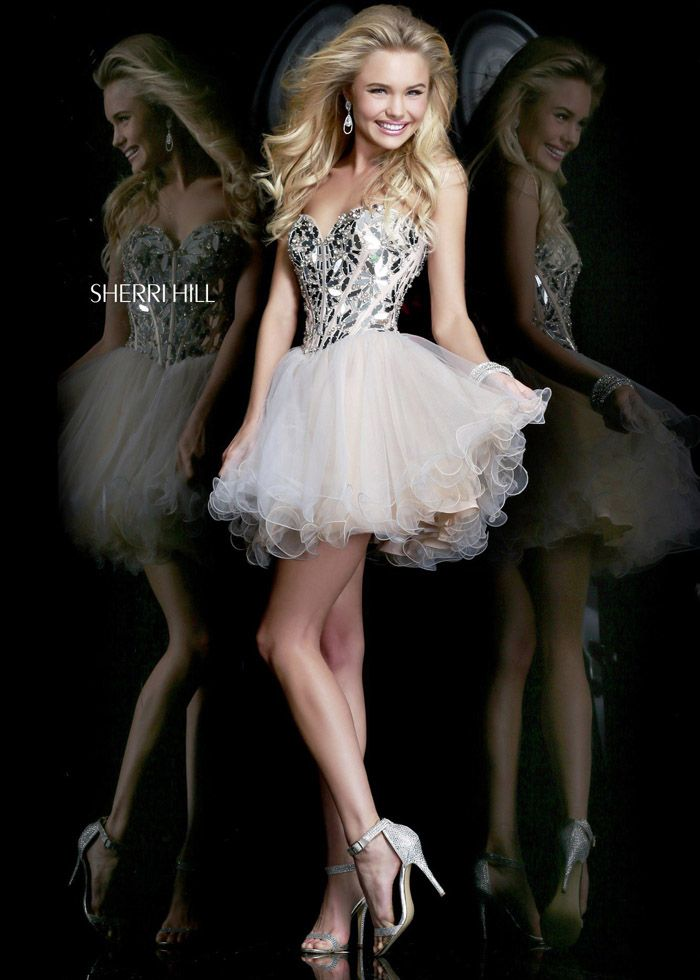 Sherri Hill 11131 Nude Sparkle Dress
