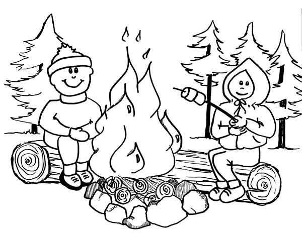 Summer Camp, : Toasting Marsmallow on Summer Camp Coloring
