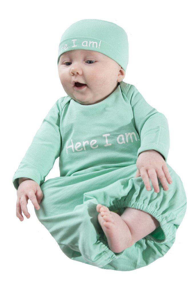 4e6497c678c Eden ~ Here I Am Baby Receiving Gown and Hat ~ Mint Green
