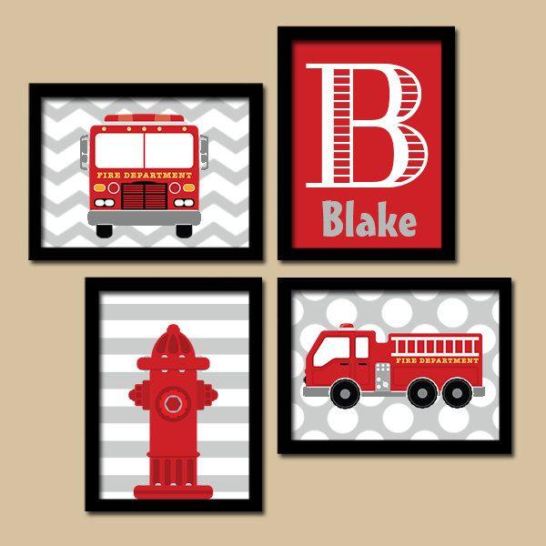Firetruck Wall Art Boy Artwork Child Name Hydrant Fire Truck Theme Dream Big Little One Pattern Set Of Fire Truck Bedroom Fire Truck Room Fire Truck Wall Art