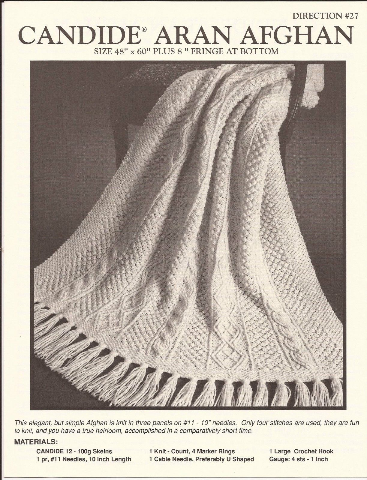 Reynolds candide aran afghan knitting pattern 27 pattern only reynolds candide aran afghan knitting pattern 27 pattern only ebay bankloansurffo Choice Image