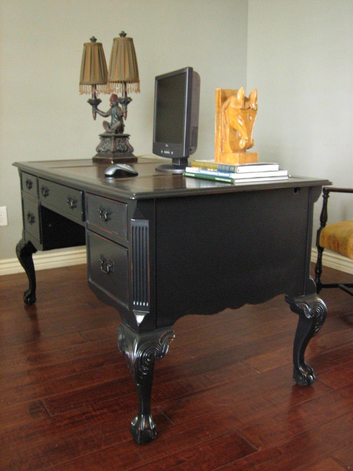 European Paint Finishes Weathered Black Executive Desk