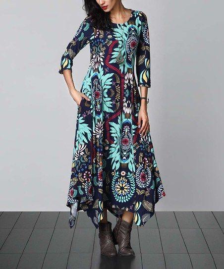 4cf69770f80b8c Reborn Collection Blue Floral Handkerchief Maxi Dress | zulily ...