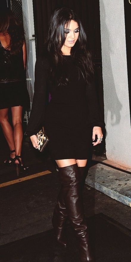 Black Dress With Dark Brown Boots Style Dresses Boots Outfits