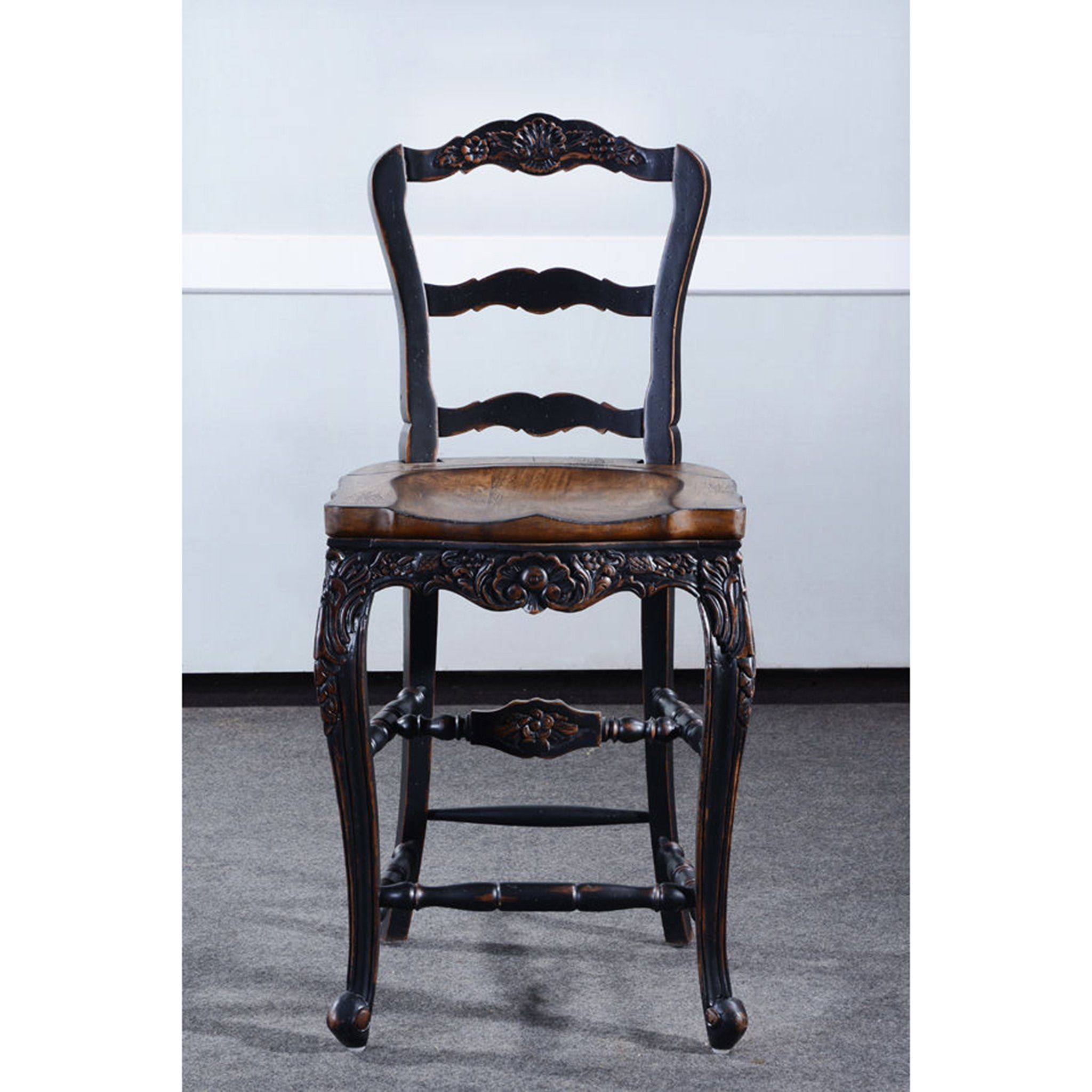 Farmhouse Black Distressed Counter Height Barstool Set of