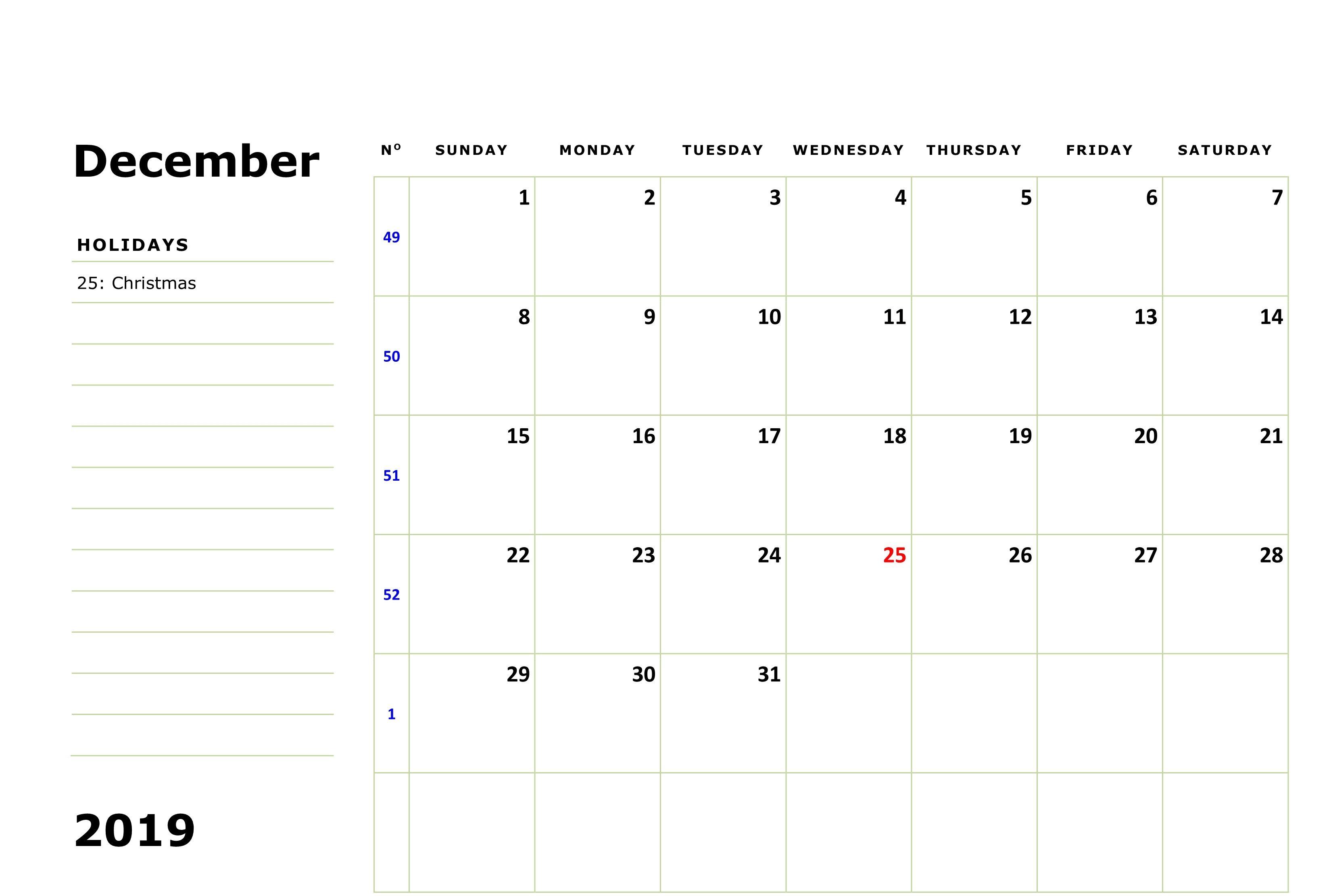 December 2019 Calendar With Holidays 2019 Calendar Holiday
