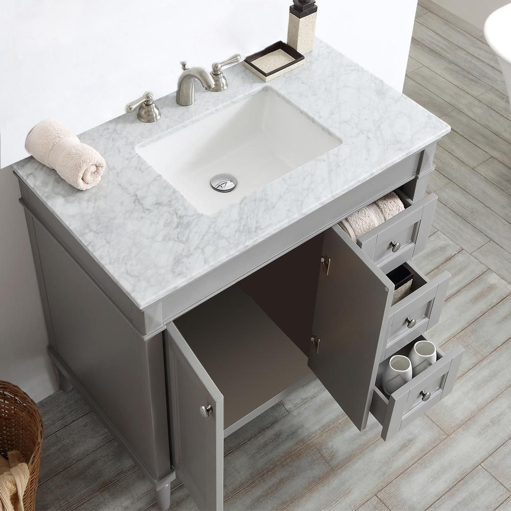 Roswell Catania 36 In W X 22 In D X 35 In H Vanity In Grey With Marble Vanity Top In White With Basin 715036 Gr Ca Nm In 2020 Marble Vanity Tops Single