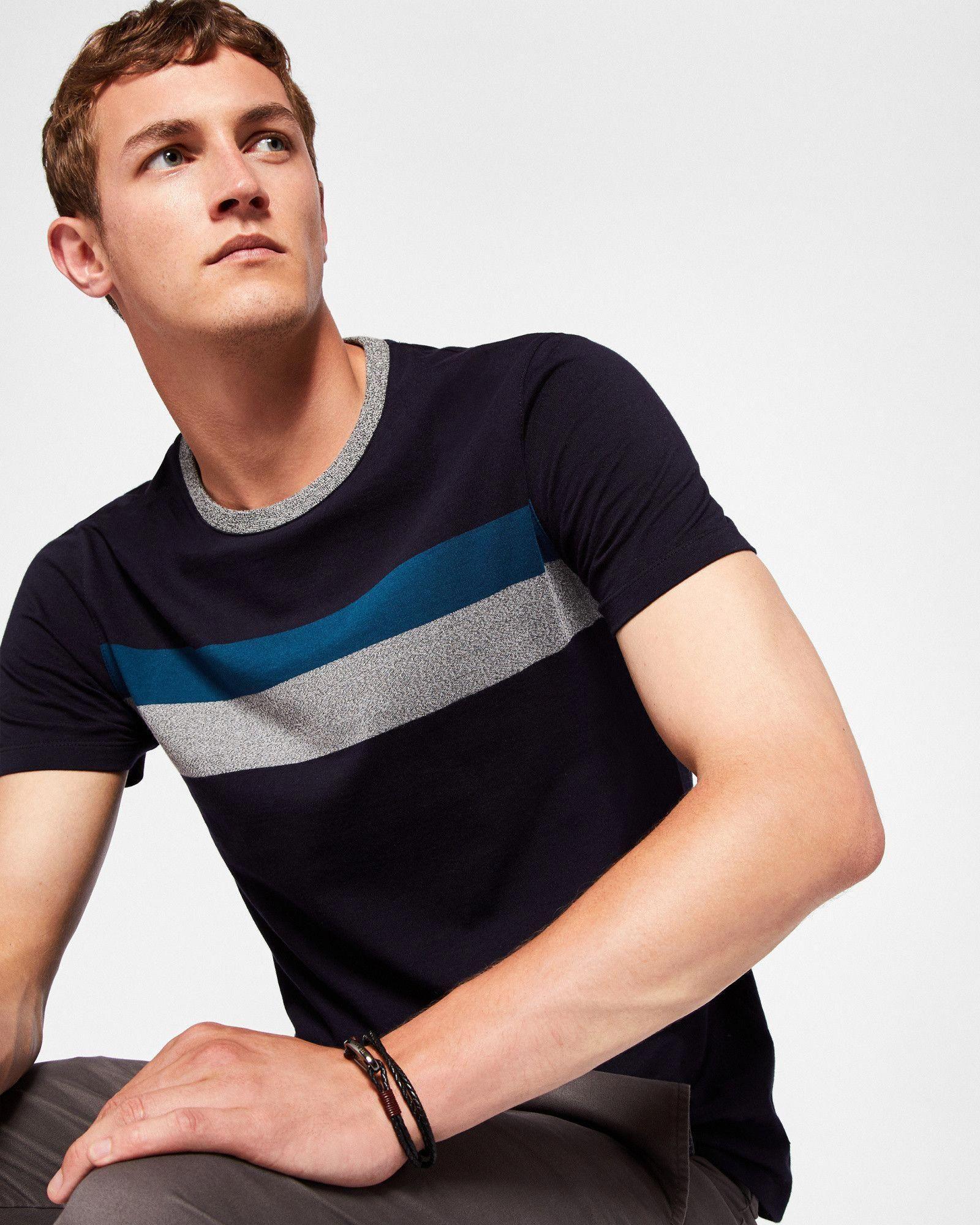248a36518 Colour-block cotton T-shirt - Navy