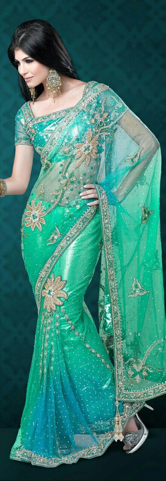 Photo of Sea Green & Turquoise w. Underwater Theme Wedding Saree.