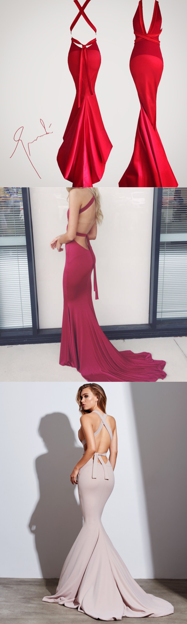 Gorgeous mermaid long red prom dress evening dress from dreamdressy