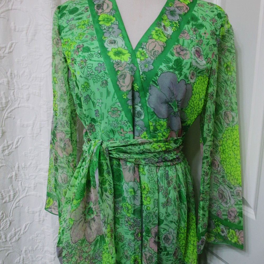 I magnin vintage us long organza gown dress s m border print green
