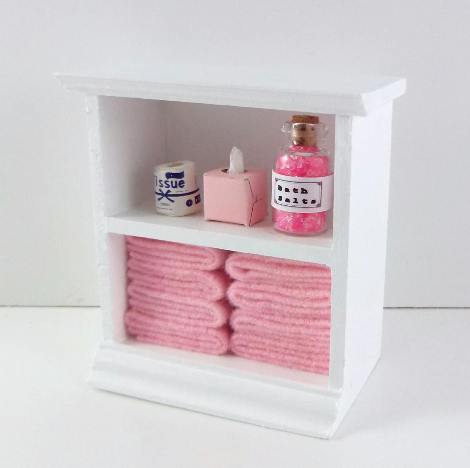 Dolls House Small Shelf Unit with Pink Accessories Miniature Bathroom Furniture 717425011008 | eBay #dollfurniture