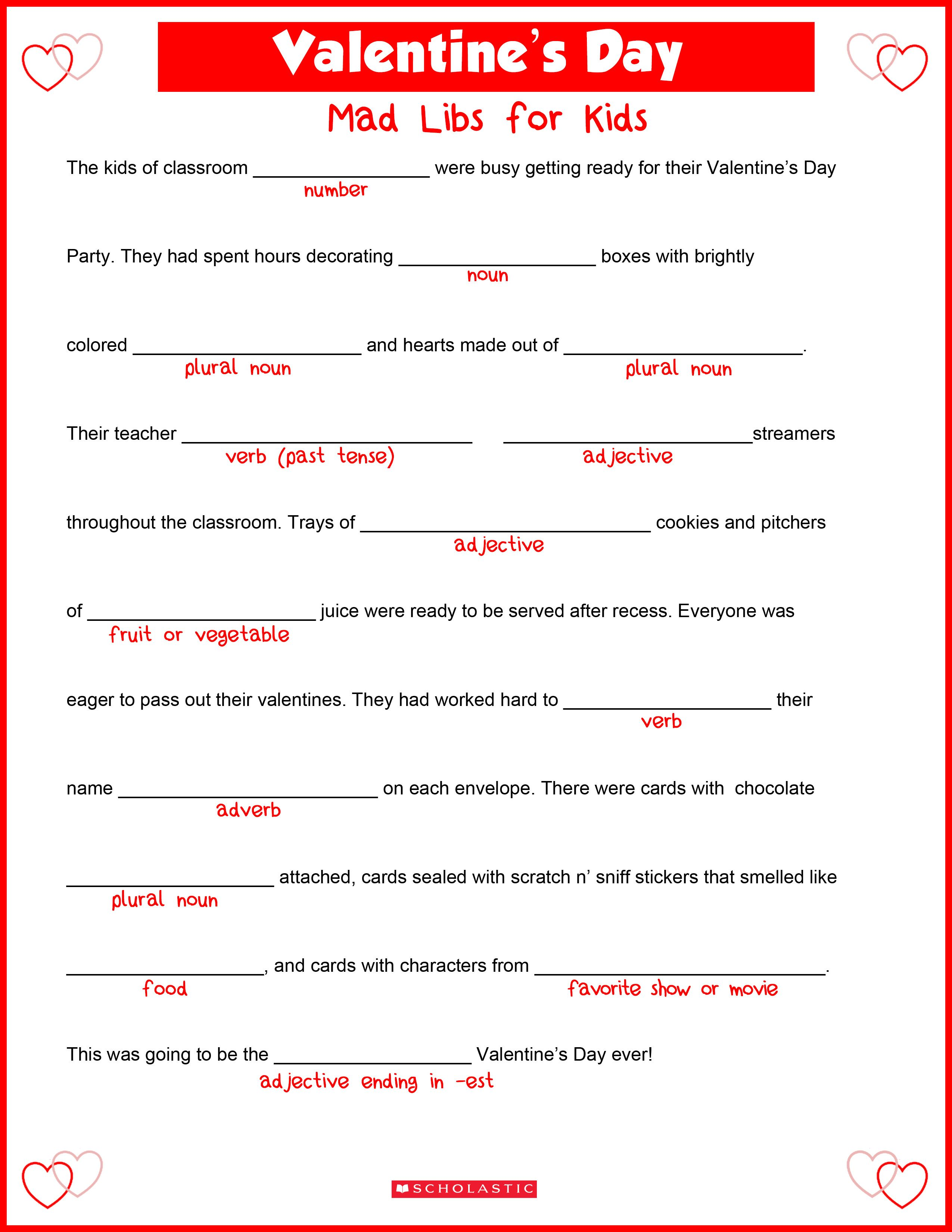 Your kids will fall in love with this Valentine's Day mad libs ...