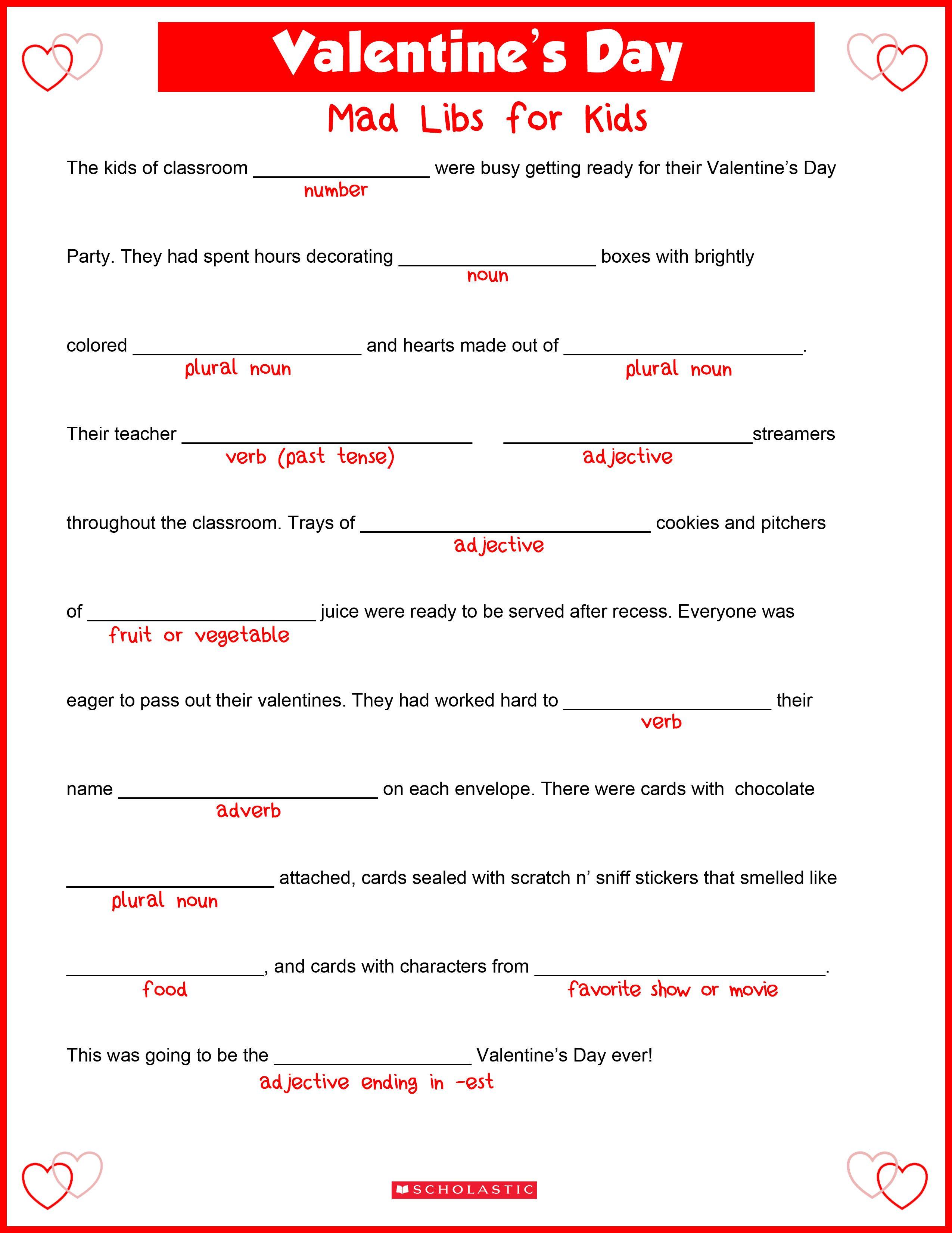 medium resolution of Valentine's Day Mad Libs   Valentines day words