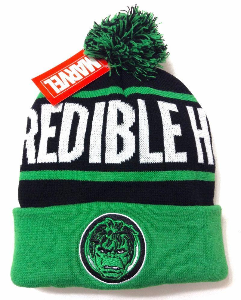 wholesale dealer 9f629 0f544 New INCREDIBLE HULK POM BEANIE Black Green Marquee Winter Knit Ski Hat Men  Women  Marvel  Beanie