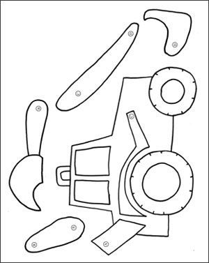 Dig into reading coloring pages ~ Digger Moving Parts Craft | Quiet book templates, Quiet ...
