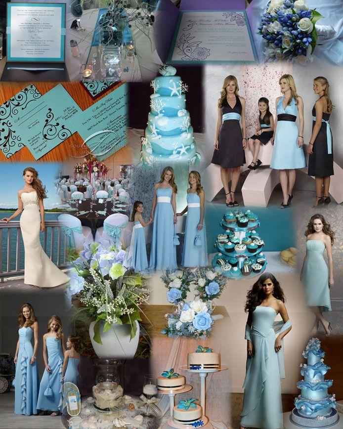 Aqua Silk Wedding Flowers To Buy Black ThemesBlue