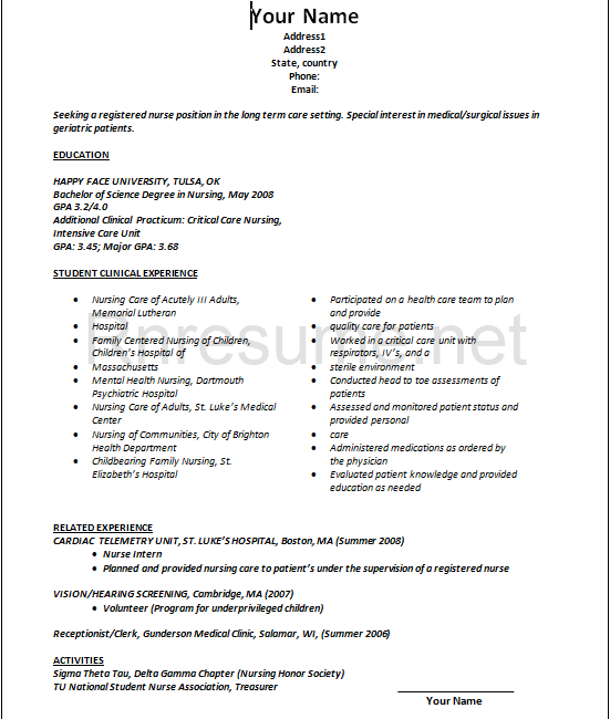 sample new grad nurse resume