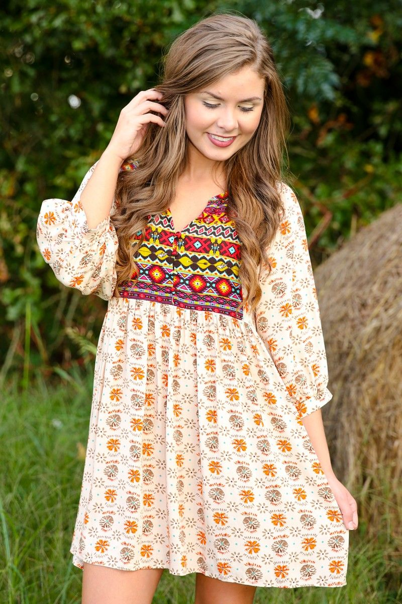 Oops-A-Daisy Quarter Sleeve Dress-Almond - So Seventies - Shop By Trend   The Red Dress Boutique