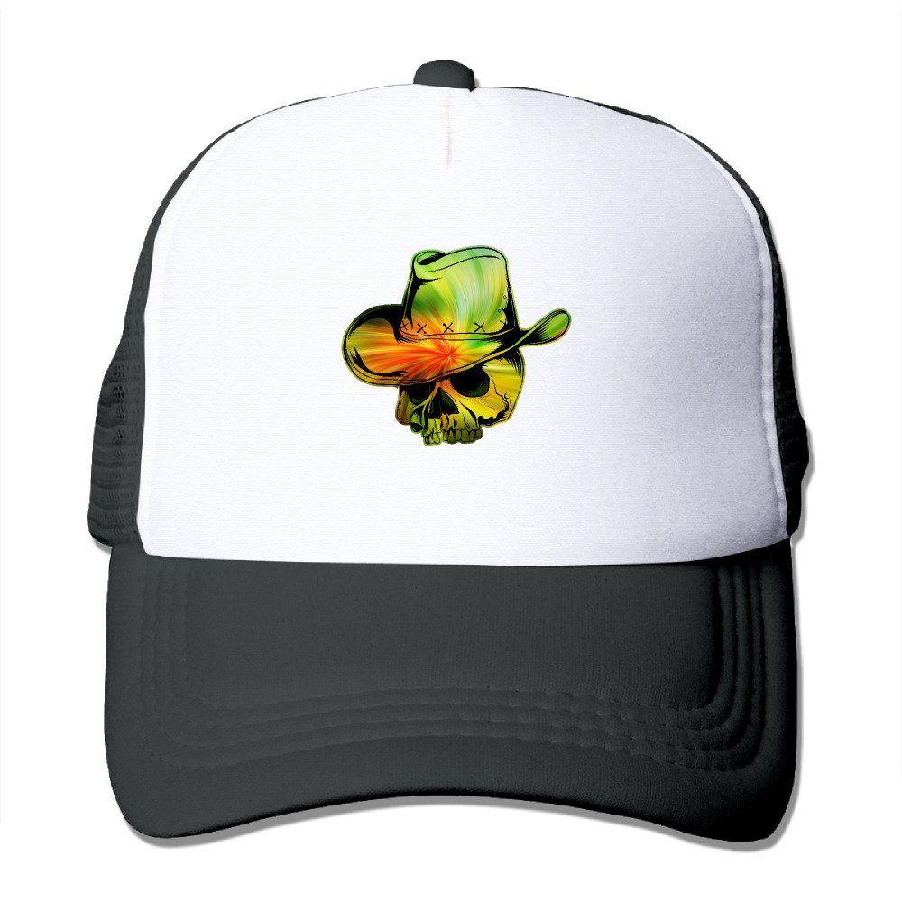 76b7dcdde Unisex Psychedelic Cool Cowboy Skull Good Vibes Adjustable Mesh Hat ...