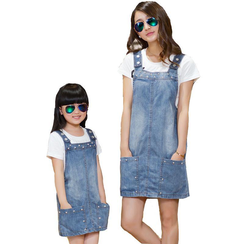 5d0e24648e4 2017 mother and daughter summer clothes family clothing set white short  sleeve letter T shirt blue jean rivet strap denim dress