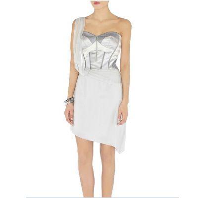 karen millen corset silk skirt dress in light grey  cheap