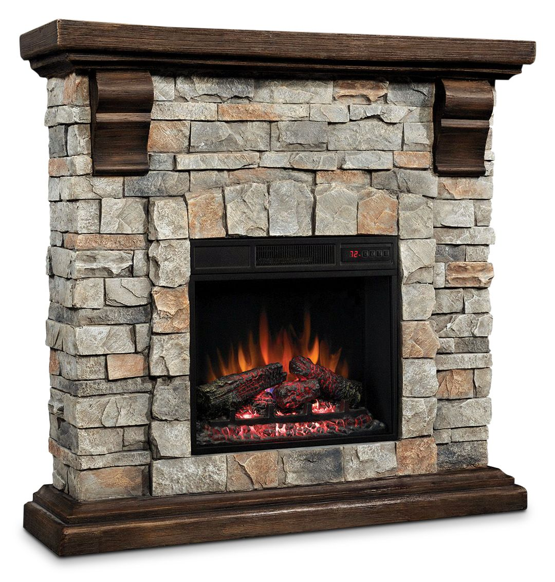 Accent And Occasional Furniture Pioneer Fireplace Dark Pine With Faux Stone Basement Redo Stone Electric Fireplace Fireplace Electric Fireplace