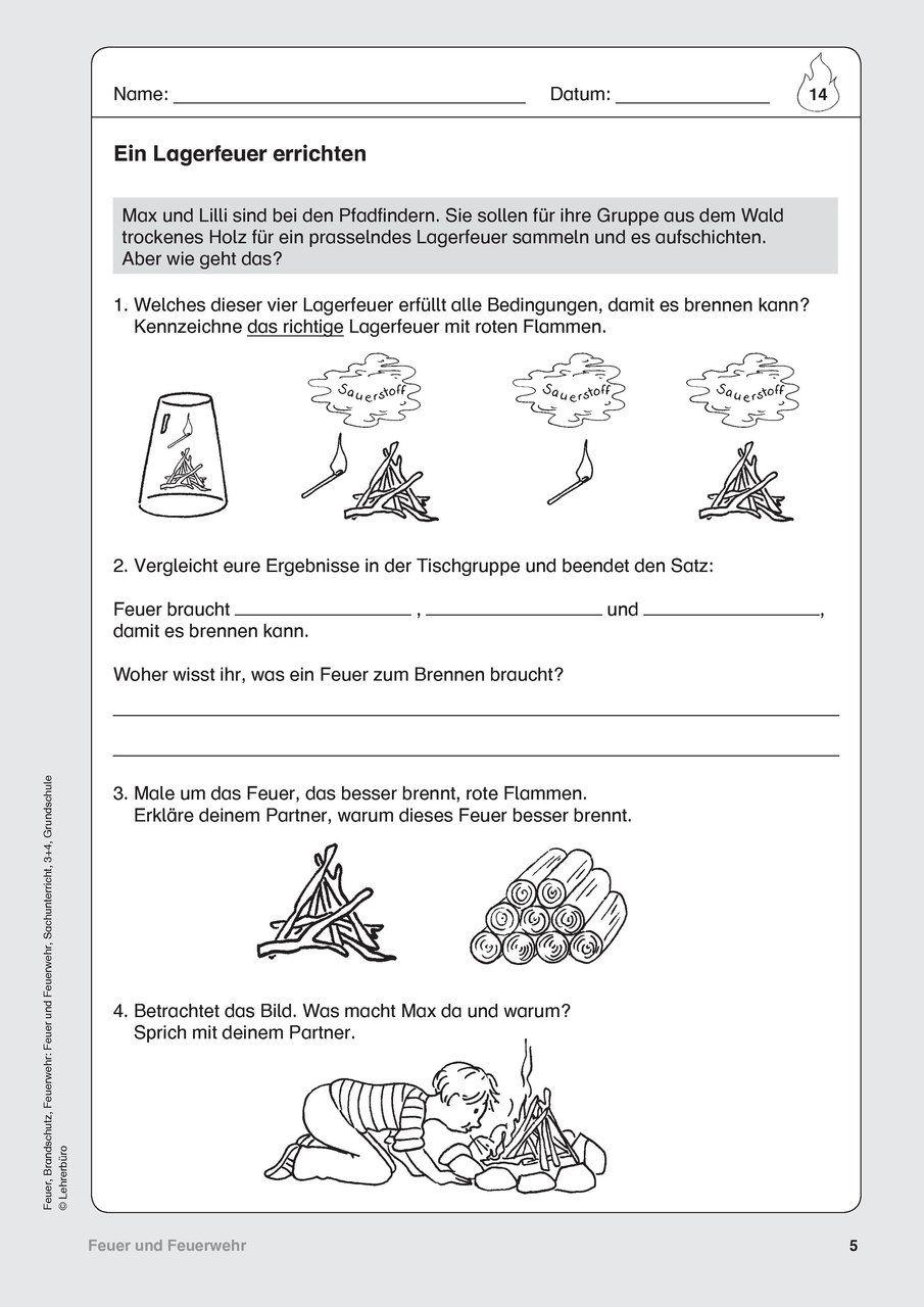 Feuerwehr Arbeitsblätter Lehrerbüro Kinder Feuerwehr