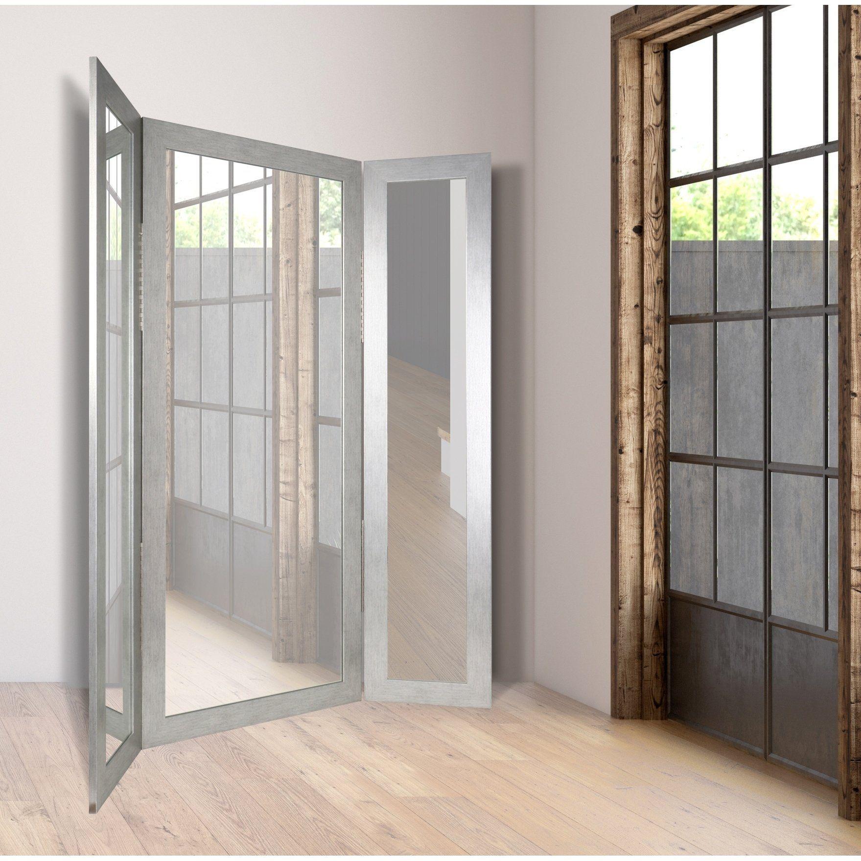 Silver Grain Tri Fold Dressing Mirror Silver Grain 64 X 71 Dressing Mirror Modern Style Homes Full Length Mirror Wall