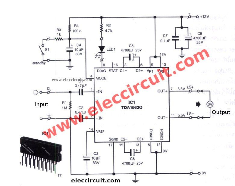 12v car audio amplifier circuit, 50w 65w with pcb eleccircuitthis is a car audio amplifier circuit that has high power over than 50w using the ic tda1562q philips which it uses just 12 volts power supply only