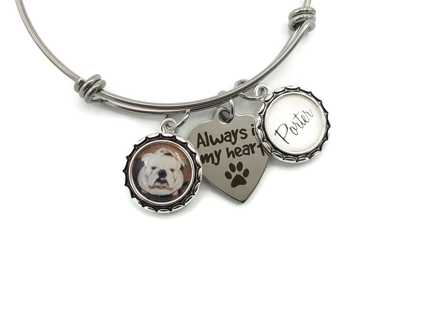 Loss Of Pet Bracelet Dog Remembrance Gift Cat Keepsake Memorial Jewelry Always In My Heart Personalized Photo