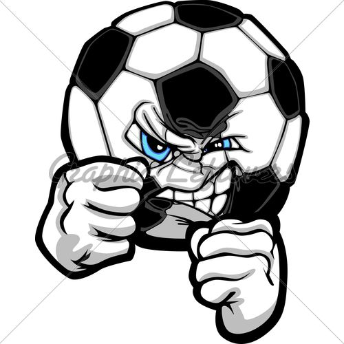 Soccer Ball With Face And Fighting Hands Sketch Cool Soccer Drawings