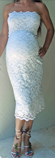 Beautiful Stretch Lace Maternity Dress In White For Any Special
