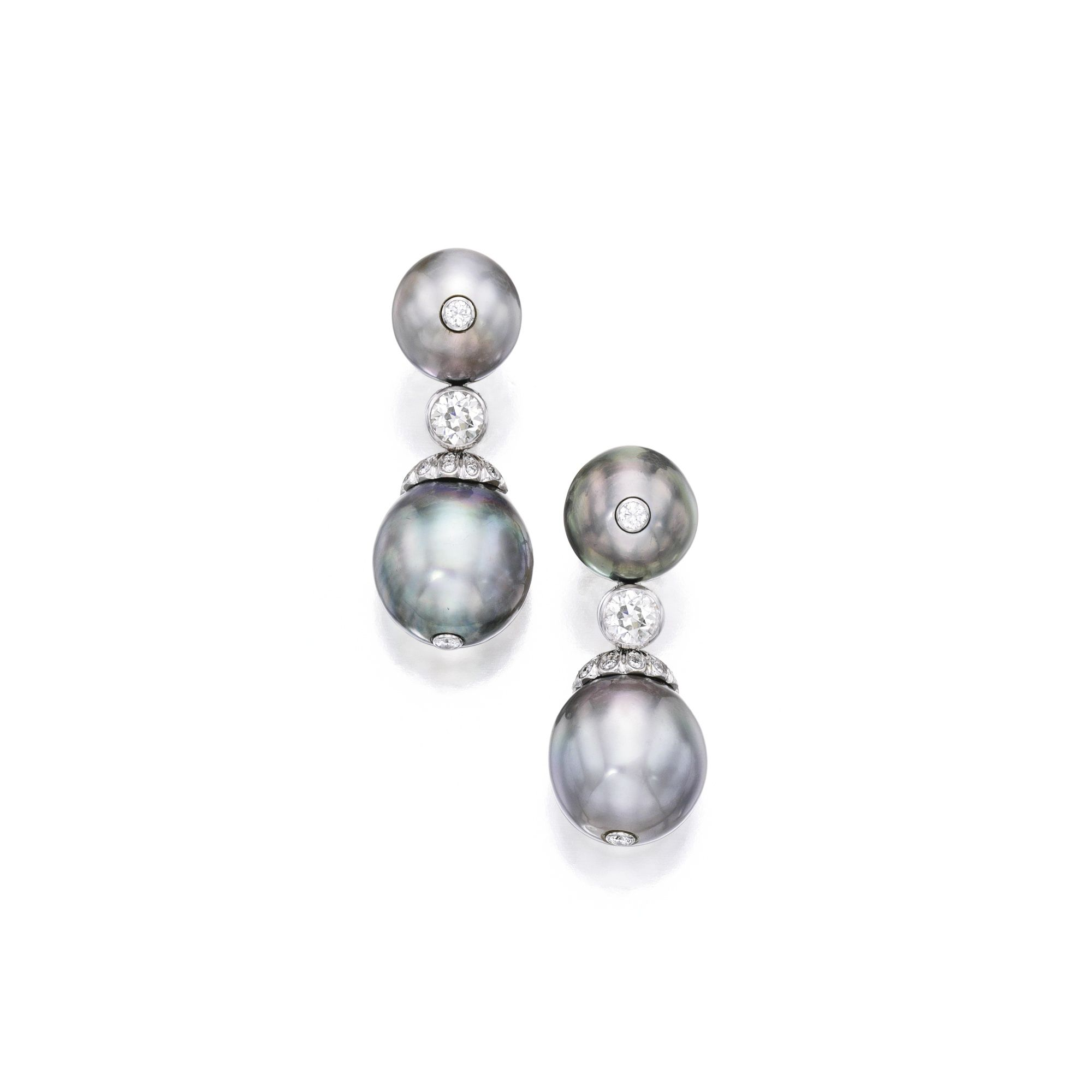 PAIR OF WHITE GOLD, NATURAL COLORED CULTURED PEARL AND DIAMOND PENDANT-EARCLIPS, ESTHER GALLAN