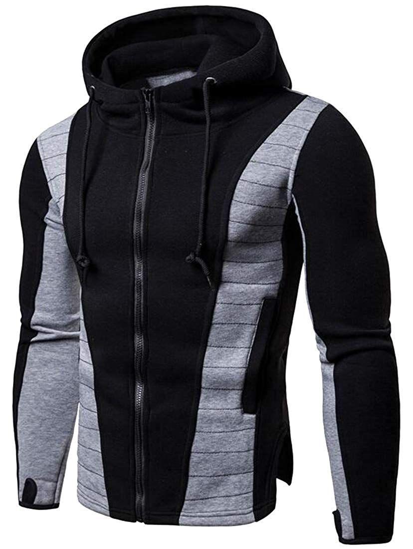 Men Hooded Contrast Thumb Hole Full Mens Sweatshirts Hoodie Hoodies Men Mens Sweatshirts [ 1100 x 828 Pixel ]