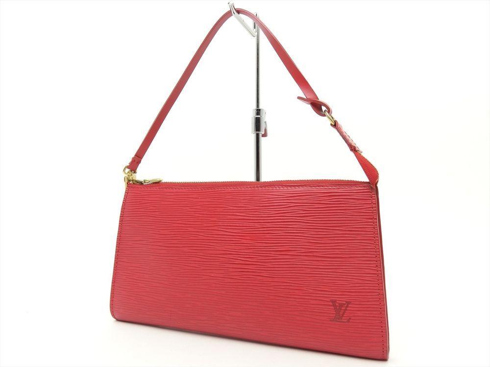 Louis Vuitton Authentic Epi Leather Red POCHETTE Accessoires POUCH Clutch Bag LV #LouisVuitton #CosmeticBags