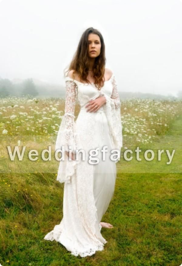 Victorian Style Wedding Dresses A Line Off Shoulder Satin Lace ...