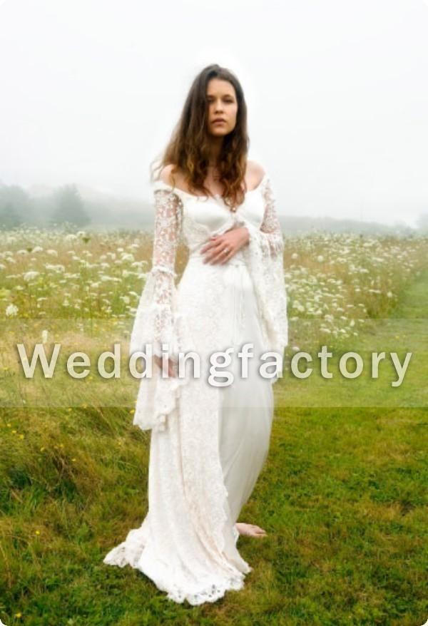 Victorian style wedding dresses a line off shoulder satin for Bell sleeve wedding dress